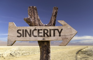 Sincerity wooden sign with a desert background